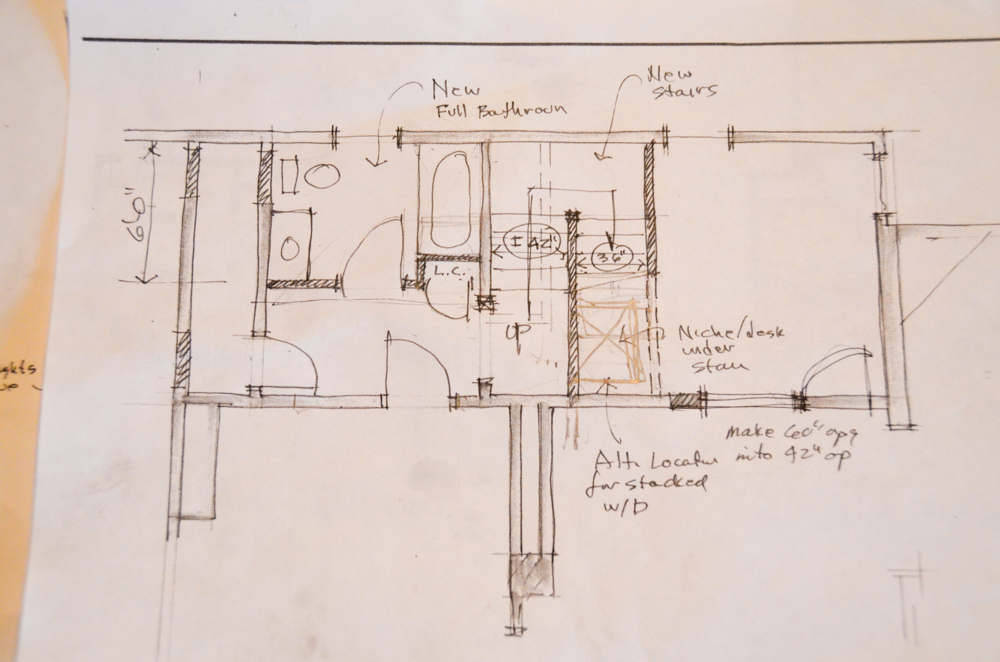 Initial sketch of downstairs bathroom and stair case