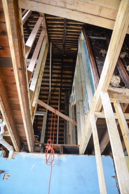 The view from what will be the bottom of the new stairs.  That is a long way up!