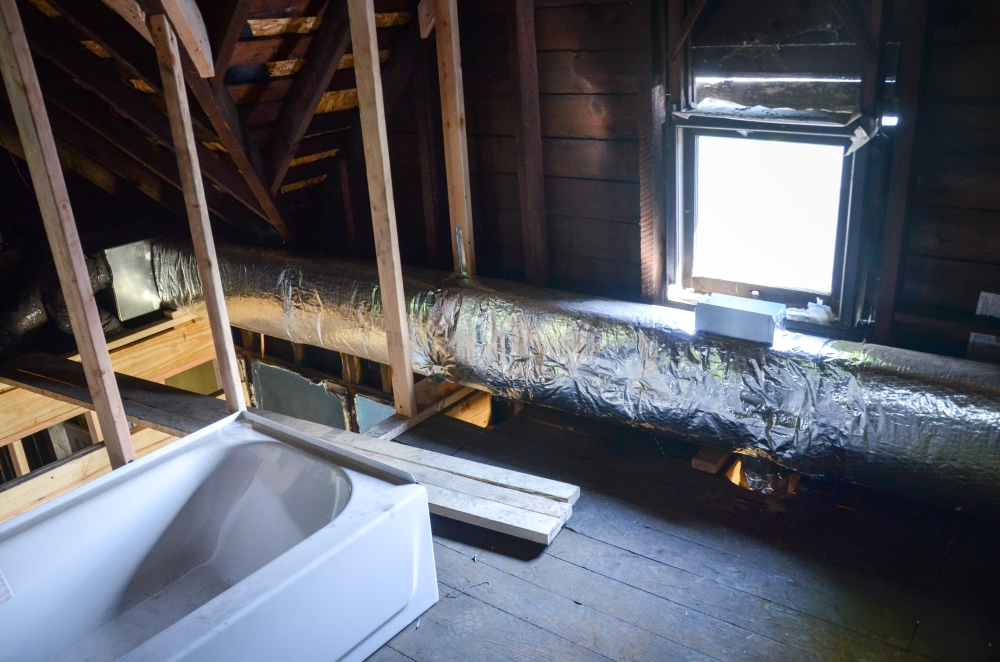 Duct work from furnace to bathroom and Lucy's room