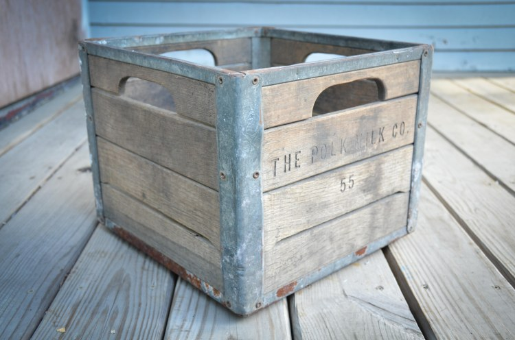 Milk crate that was found in the crawl space