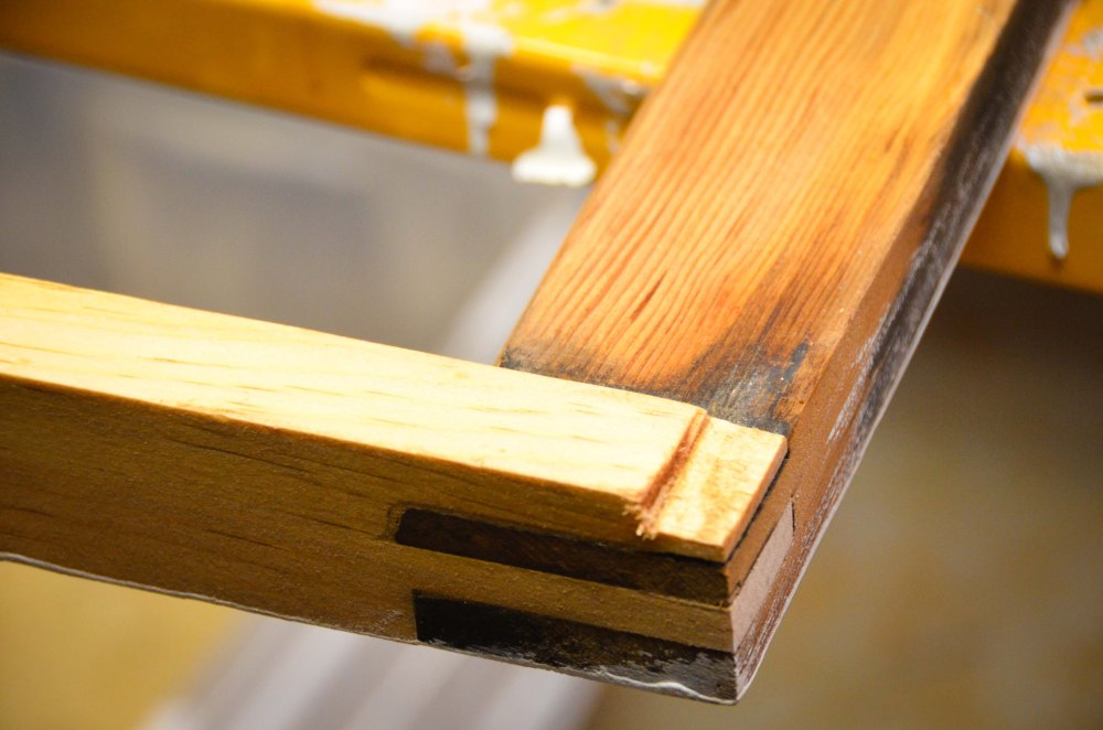 Replacement piece of pine on old sash