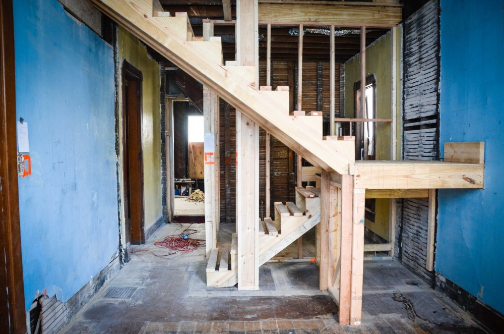 Framing for new staircase in the playroom