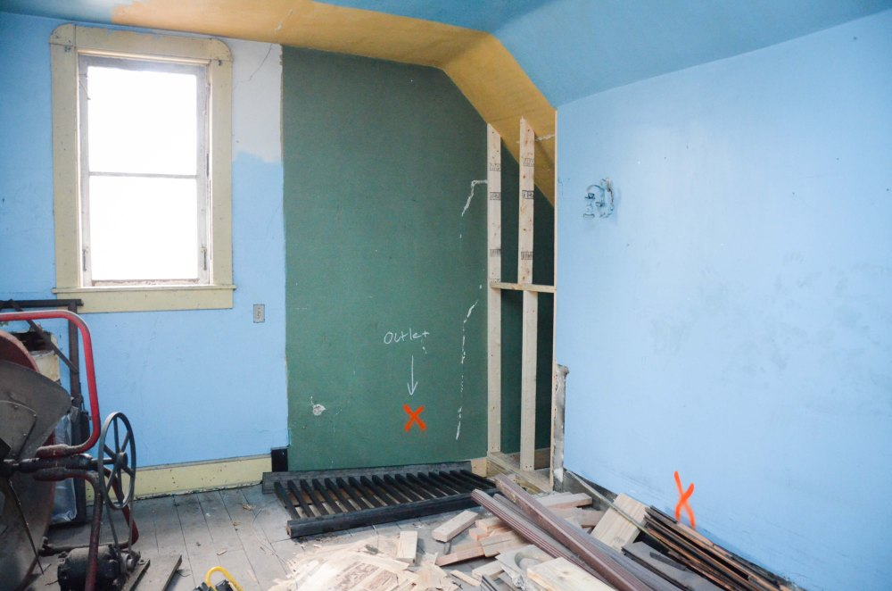The corner of the master bedroom that will now just be a wall