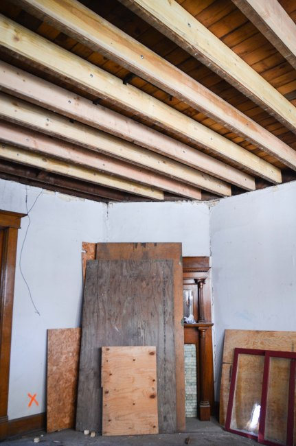 Ceiling of the parlor and floor of Lucy's room