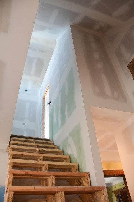 looking up the stairs
