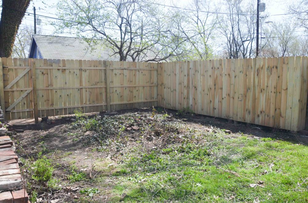 The fence in the backyard
