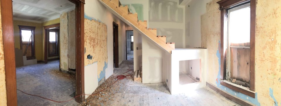 playroom, hallway to kitchen, and living room (left)