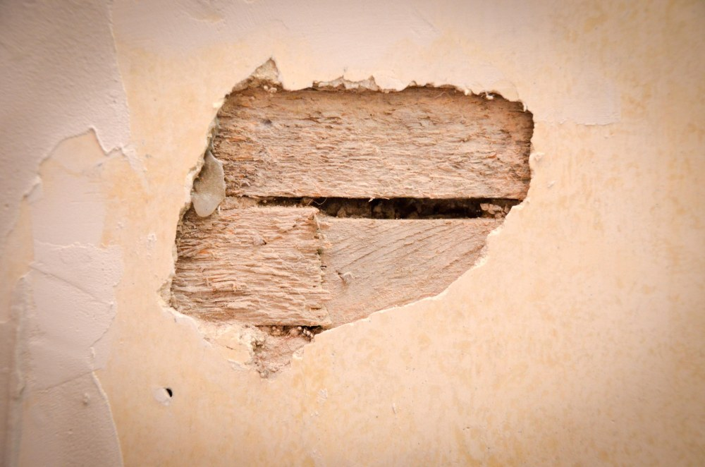 A small patch of missing plaster