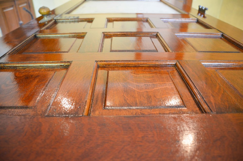 After a coat of stain and a couple coats of poly