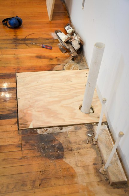 patching the hole in the floor