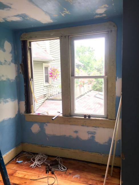 Installing the rehabbed master bedroom windows