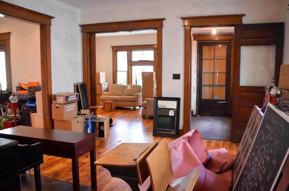 Living room, parlor, and vestibule