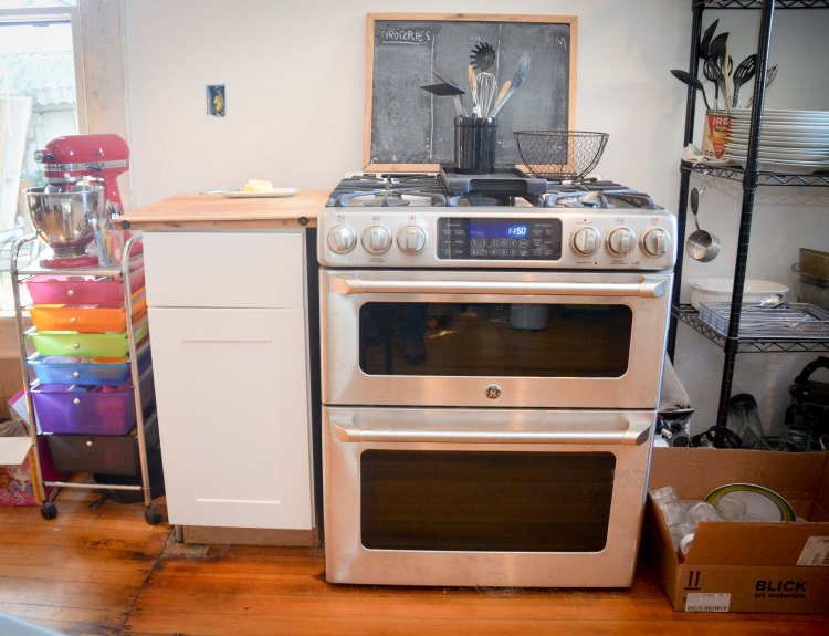 Our oven, and temporary storage
