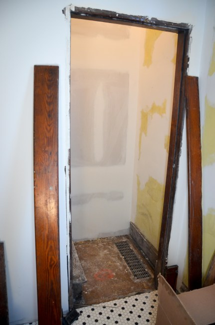 Old entrance to the old stairs. Now a linen closet!