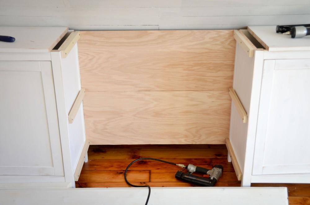 Installing the back of the bookshelf